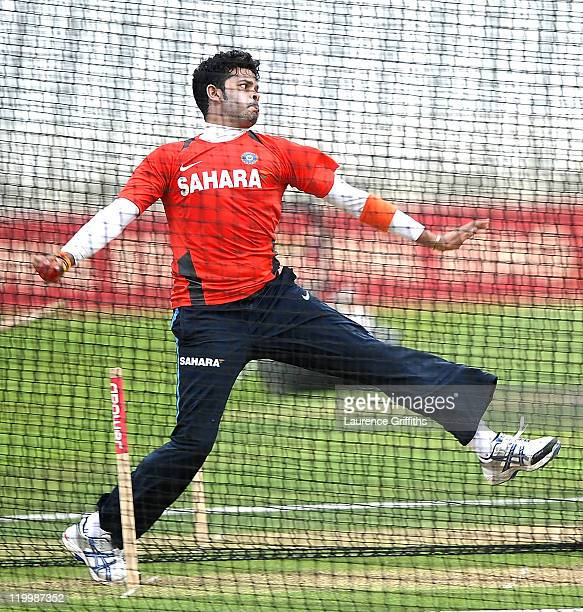 Sreesanth of India fires in a delivery during Net Practice ahead of the second test match at Trent Bridge on July 28 2011 in Nottingham England