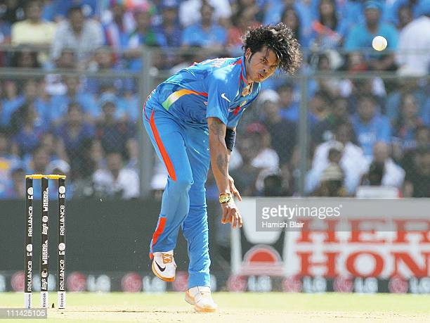 Sreesanth of India in action during the 2011 ICC World Cup Final between India and Sri Lanka at Wankhede Stadium on April 2 2011 in Mumbai India