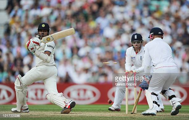 Sreesanth of India is bowled by Graeme Swann of England during day five of the 4th npower Test Match between England and India at The Kia Oval on...