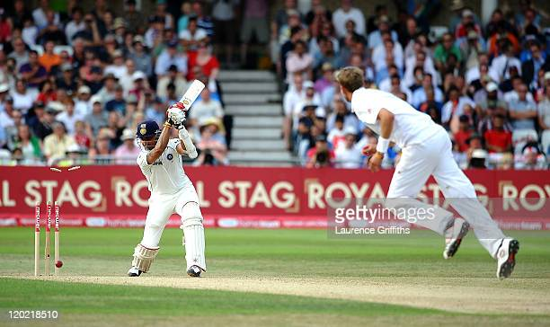 Sreesanth of India is bowled by Stuart Broad of England to win the second npower Test match between England and India at Trent Bridge on August 1...