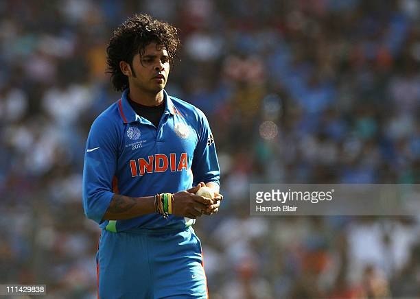 Sreesanth of India returns to the top of his mark during the 2011 ICC World Cup Final between India and Sri Lanka at Wankhede Stadium on April 2 2011...