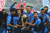 Sreesanth Sachin Tendulkar Harbhajan Singh Suresh Raina Piyush Chawla and Virender Sehwag of India celebrate their teams win against Sri Lanka during...