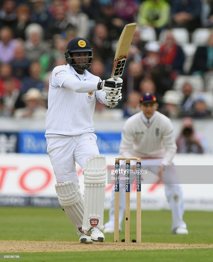 Sri Lanka batsman <a gi-track='captionPersonalityLinkClicked' href=/galleries/search?phrase=Angelo+Mathews&family=editorial&specificpeople=5622021 ng-click='$event.stopPropagation()'>Angelo Mathews</a> hits out during day three of the 2nd Investec Test match between England and Sri Lanka at Emirates Durham ICG on May 29, 2016 in Chester-le-Street, United Kingdom.