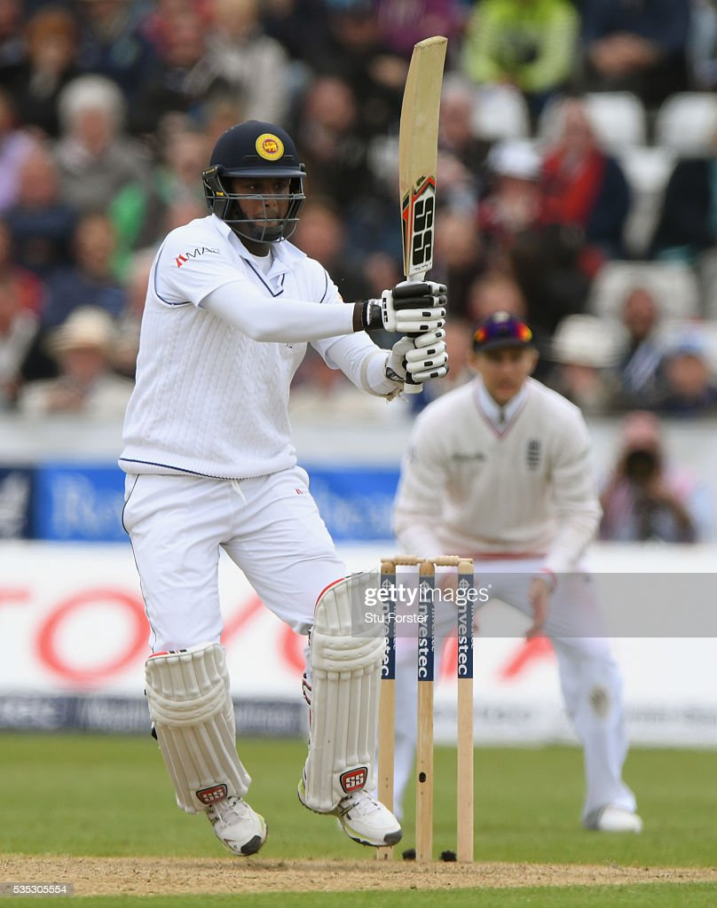 Sri Lanka batsman <a gi-track='captionPersonalityLinkClicked' href=/galleries/search?phrase=Angelo+Mathews&family=editorial&specificpeople=5622021 ng-click='$event.stopPropagation()'>Angelo Mathews</a> picks up some runs during day three of the 2nd Investec Test match between England and Sri Lanka at Emirates Durham ICG on May 29, 2016 in Chester-le-Street, United Kingdom.