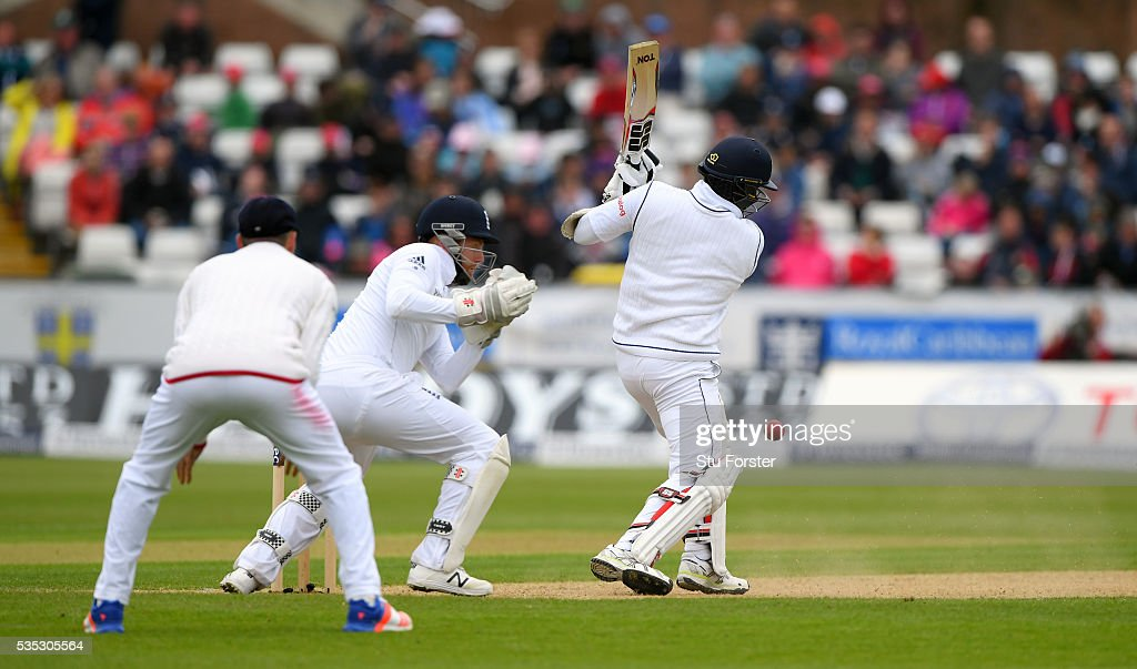 Sri Lanka batsman <a gi-track='captionPersonalityLinkClicked' href=/galleries/search?phrase=Angelo+Mathews&family=editorial&specificpeople=5622021 ng-click='$event.stopPropagation()'>Angelo Mathews</a> survives a stumping chance by Jonny Bairstow during day three of the 2nd Investec Test match between England and Sri Lanka at Emirates Durham ICG on May 29, 2016 in Chester-le-Street, United Kingdom.