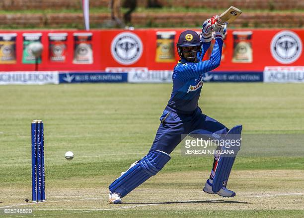 Sri Lanka batsman Dhananjaya De Silva is in action during the fifth match of triangular oneday international series between Sri Lanka and West Indies...