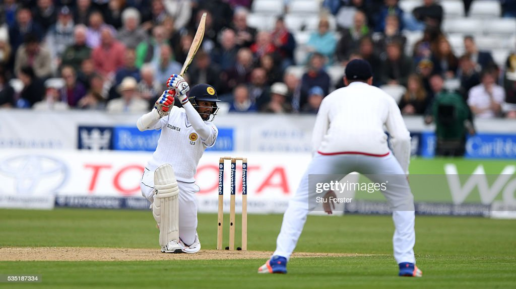 Sri Lanka batsman <a gi-track='captionPersonalityLinkClicked' href=/galleries/search?phrase=Dimuth+Karunaratne&family=editorial&specificpeople=7915648 ng-click='$event.stopPropagation()'>Dimuth Karunaratne</a> cover drives to the boundary during day three of the 2nd Investec Test match between England and Sri Lanka at Emirates Durham ICG on May 29, 2016 in Chester-le-Street, United Kingdom.