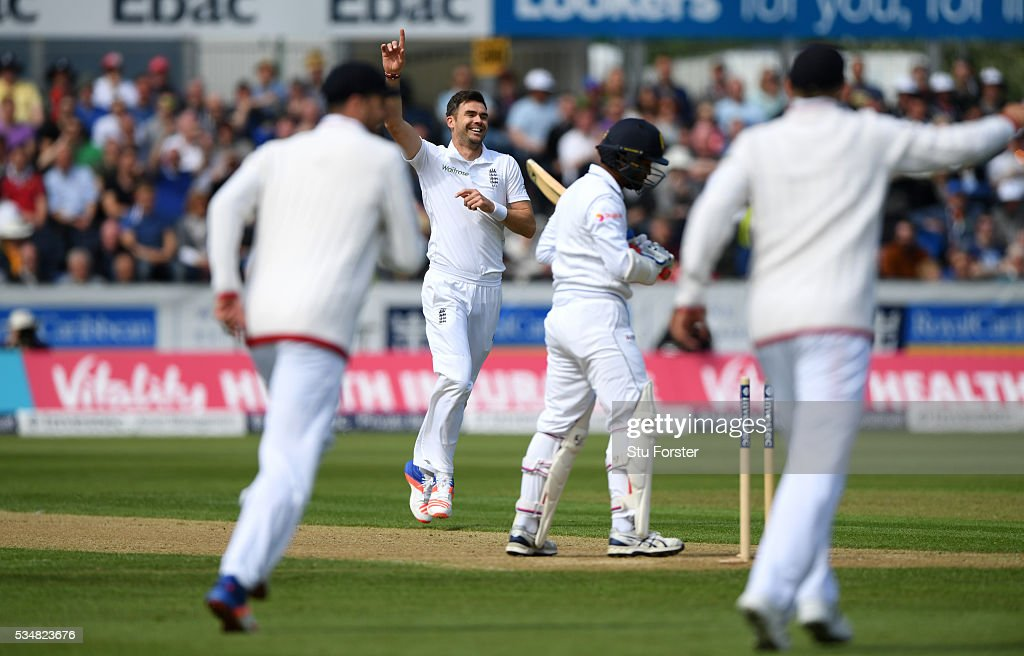 Sri Lanka batsman Dimuth Karunaratne is bowled by James Anderson of England during day two of the 2nd Investec Test match between England and Sri Lanka at Emirates Durham ICG on May 28, 2016 in Chester-le-Street, United Kingdom.