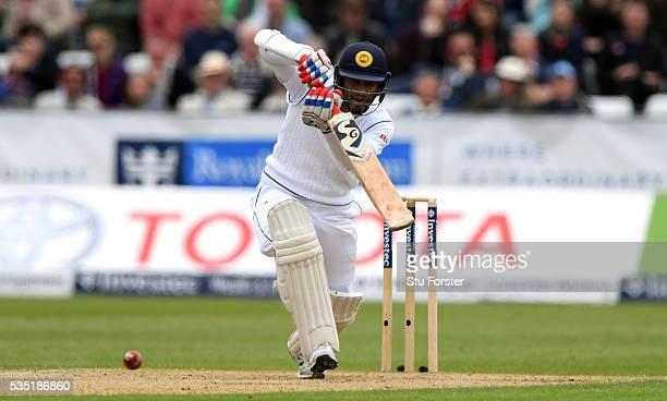 Sri Lanka batsman Dimuth Karunaratne picks up some runs during day three of the 2nd Investec Test match between England and Sri Lanka at Emirates...