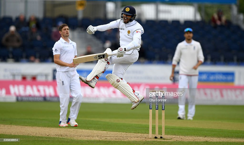 Sri Lanka batsman <a gi-track='captionPersonalityLinkClicked' href=/galleries/search?phrase=Dinesh+Chandimal&family=editorial&specificpeople=4884949 ng-click='$event.stopPropagation()'>Dinesh Chandimal</a> celebrates his century during day four of the 2nd Investec Test match between England and Sri Lanka at Emirates Durham ICG on May 30, 2016 in Chester-le-Street, United Kingdom.