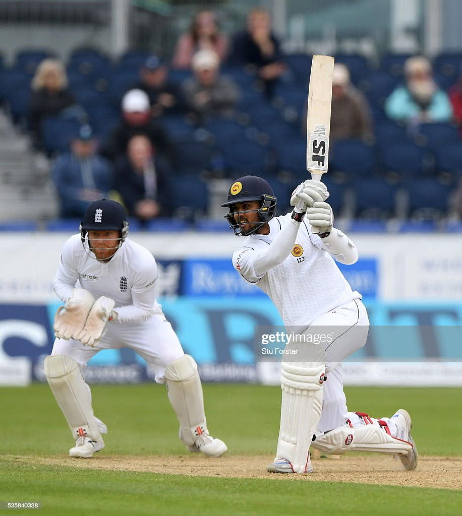 Sri Lanka batsman <a gi-track='captionPersonalityLinkClicked' href=/galleries/search?phrase=Dinesh+Chandimal&family=editorial&specificpeople=4884949 ng-click='$event.stopPropagation()'>Dinesh Chandimal</a> cuts a ball towards the boundary during day four of the 2nd Investec Test match between England and Sri Lanka at Emirates Durham ICG on May 30, 2016 in Chester-le-Street, United Kingdom.