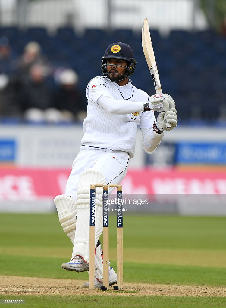 Sri Lanka batsman Dinesh Chandimal pulls a ball to the boundary during day four of the 2nd Investec Test match between England and Sri Lanka at Emirates Durham ICG on May 30, 2016 in Chester-le-Street, United Kingdom.