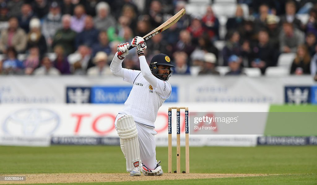 Sri Lanka batsman <a gi-track='captionPersonalityLinkClicked' href=/galleries/search?phrase=Lahiru+Thirimanne&family=editorial&specificpeople=5946377 ng-click='$event.stopPropagation()'>Lahiru Thirimanne</a> drives during day three of the 2nd Investec Test match between England and Sri Lanka at Emirates Durham ICG on May 29, 2016 in Chester-le-Street, United Kingdom.
