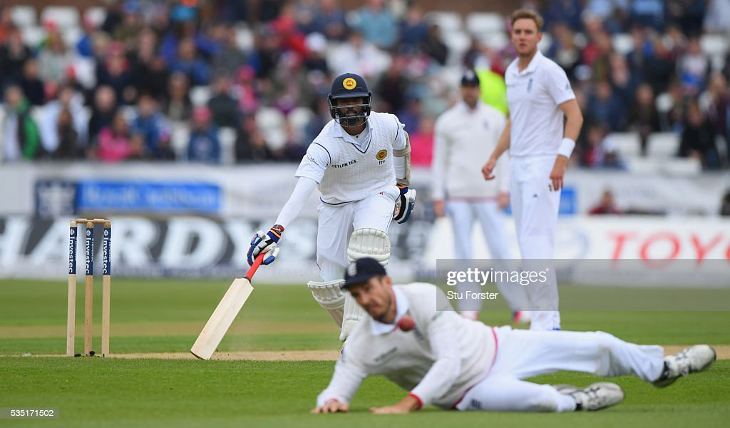 Sri Lanka batsman Nuwan Pradeep makes his ground as Steven Finn backs up during day three of the 2nd Investec Test match between England and Sri Lanka at Emirates Durham ICG on May 29, 2016 in Chester-le-Street, United Kingdom.