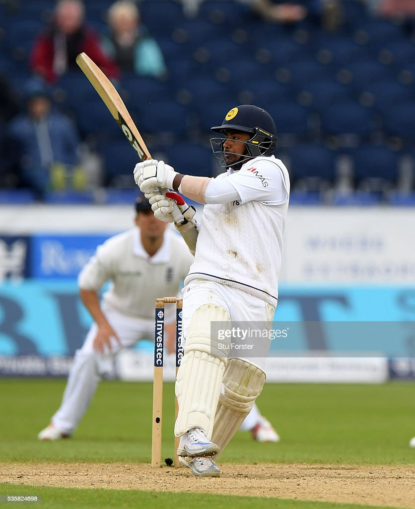 Sri Lanka batsman Rangana Herath hits out during day four of the 2nd Investec Test match between England and Sri Lanka at Emirates Durham ICG on May 30, 2016 in Chester-le-Street, United Kingdom.