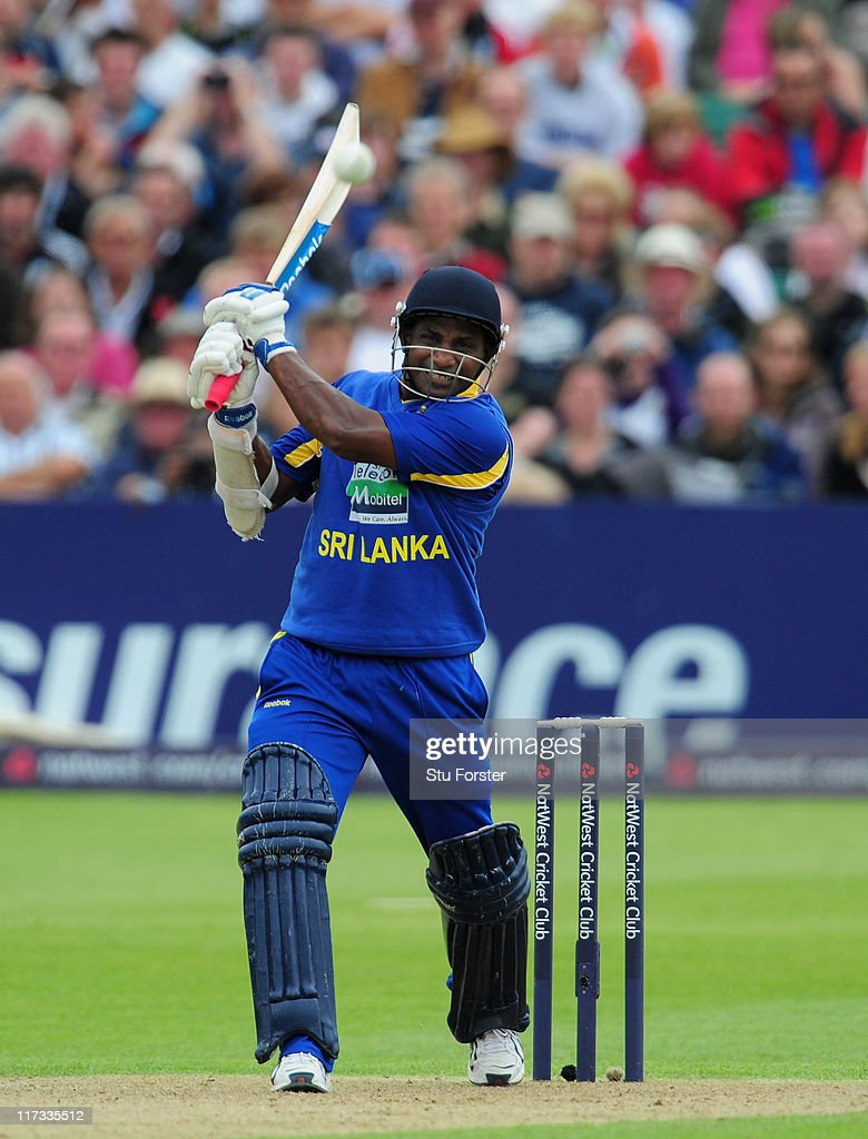 Sri Lanka batsman <a gi-track='captionPersonalityLinkClicked' href=/galleries/search?phrase=Sanath+Jayasuriya&family=editorial&specificpeople=206914 ng-click='$event.stopPropagation()'>Sanath Jayasuriya</a> in action during the NatWest International Twenty20 Match between England and Sri Lanka at The County Ground at The County Ground on June 25, 2011 in Bristol, United Kingdom.