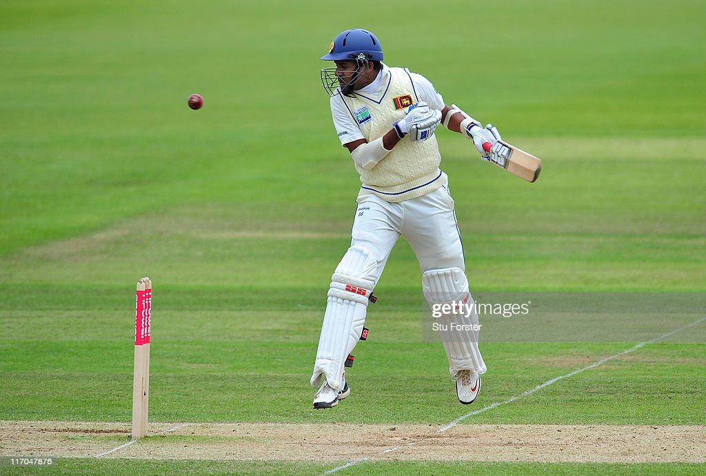 Sri Lanka batsman Thilan Samaraweera is hit by a short ball from James Anderson during day five of the 3rd npower test between England and Sri Lanka at the Rosebowl on June 20, 2011 in Southampton, England.
