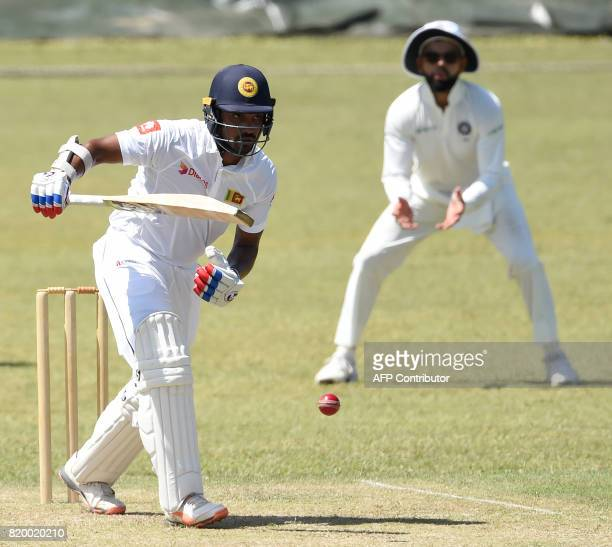 Sri Lanka Board President's XI cricketer Danushka Gunathilaka plays a shot during the first day of the twoday warmup match between Sri Lanka Board...
