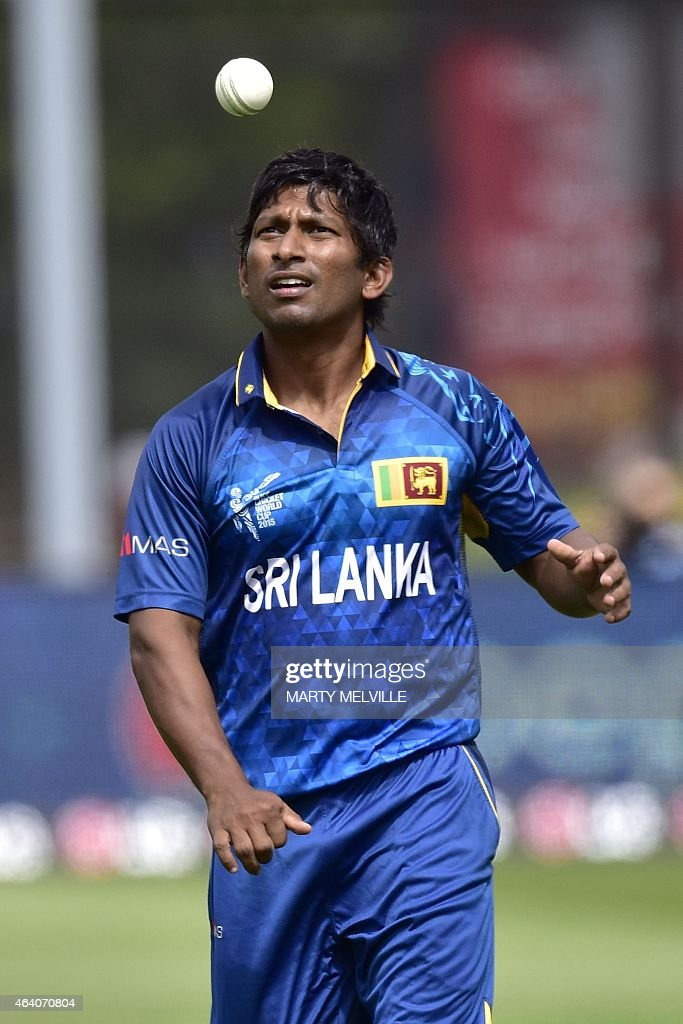 Sri Lanka bowler <a gi-track='captionPersonalityLinkClicked' href=/galleries/search?phrase=Jeevan+Mendis&family=editorial&specificpeople=7037737 ng-click='$event.stopPropagation()'>Jeevan Mendis</a> prepares to bowl during the Pool A 2015 Cricket World Cup cricket match between Sri Lanka and Afghanistan at University Oval in Dunedin on February 22, 2015.