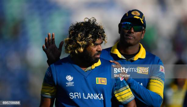 Sri Lanka bowler Lasith Malinga reacts after the ICC Champions League match between Sri Lanka and Pakistan at SWALEC Stadium on June 12 2017 in...
