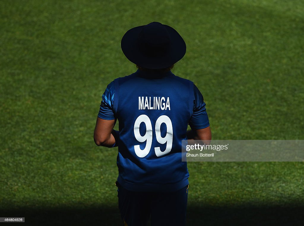 Sri Lanka bowler <a gi-track='captionPersonalityLinkClicked' href=/galleries/search?phrase=Lasith+Malinga&family=editorial&specificpeople=171602 ng-click='$event.stopPropagation()'>Lasith Malinga</a> waits in the field during the 2015 ICC Cricket World Cup match between England and Sri Lanka at Wellington Regional Stadium on March 1, 2015 in Wellington, New Zealand.