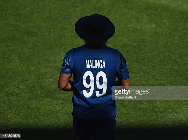 Sri Lanka bowler Lasith Malinga waits in the field during the 2015 ICC Cricket World Cup match between England and Sri Lanka at Wellington Regional...