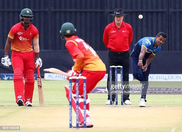 Sri Lanka bowler Nuwan Kulasekara is in action during the opening match of an ODI series Sri Lanka vs Zimbabwe in Harare on November 14 2016 / AFP /...