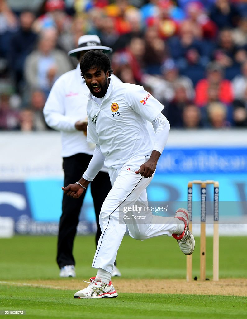 Sri Lanka bowler Nuwan Pradeep celebrates after dismissing Stuart Broad during day two of the 2nd Investec Test match between England and Sri Lanka at Emirates Durham ICG on May 28, 2016 in Chester-le-Street, United Kingdom.