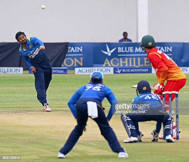 Sri Lanka bowler Sachith Pathirana is in action during the opening match of an ODI series Sri Lanka vs Zimbabwe in Harare on November 14 2016 / AFP /...