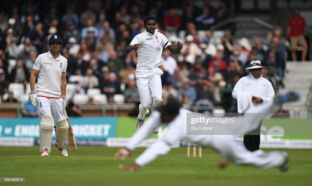 Sri Lanka bowler <a gi-track='captionPersonalityLinkClicked' href=/galleries/search?phrase=Shaminda+Eranga&family=editorial&specificpeople=8049726 ng-click='$event.stopPropagation()'>Shaminda Eranga</a> reacts as England batsman Alex Hales (not pictured) survives as the ball goes through the slips during day one of the 1st Investec Test match between England and Sri Lanka at Headingley on May 19, 2016 in Leeds, United Kingdom.