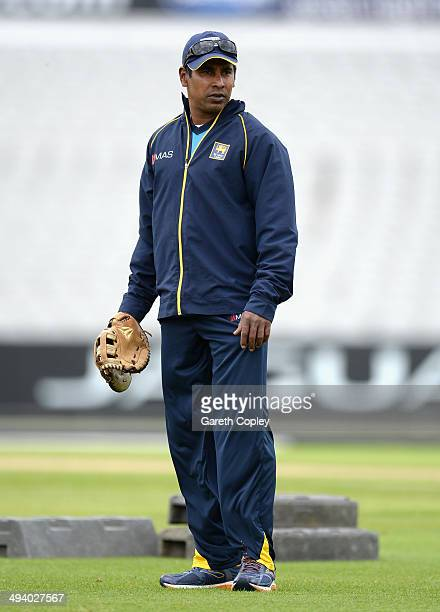 Sri Lanka bowling coach Chaminda Vaas during a nets session at Old Trafford on May 27 2014 in Manchester England