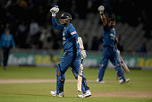 Sri Lanka captain Angelo Mathews celebrates winning the Royal London One Day International match between England and Sri Lanka at Edgbaston on June 3...
