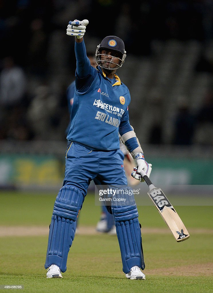 Sri Lanka captain <a gi-track='captionPersonalityLinkClicked' href=/galleries/search?phrase=Angelo+Mathews&family=editorial&specificpeople=5622021 ng-click='$event.stopPropagation()'>Angelo Mathews</a> celebrates winning the Royal London One Day International match between England and Sri Lanka at Edgbaston on June 3, 2014 in Birmingham, England.