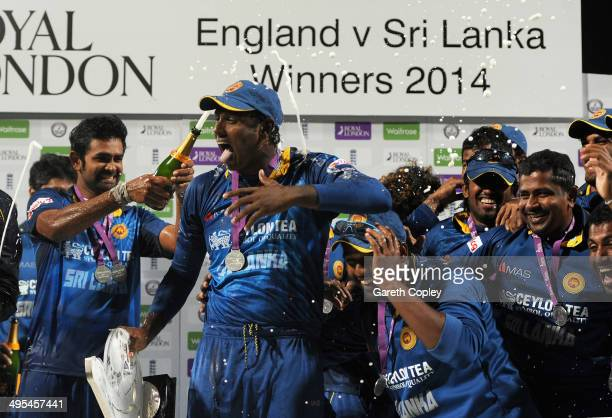 Sri Lanka captain Angelo Mathews celebrates with his team after winning the series after the Royal London One Day International match between England...