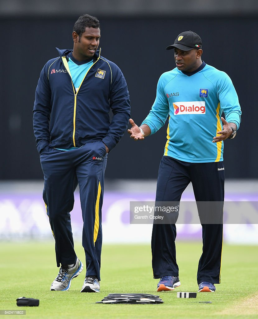 Sri Lanka captain Angelo Mathews speaks with Chairman of Selectors Sanath Jayasuriya during a nets session at Edgbaston on June 23 2016 in Birmingham...