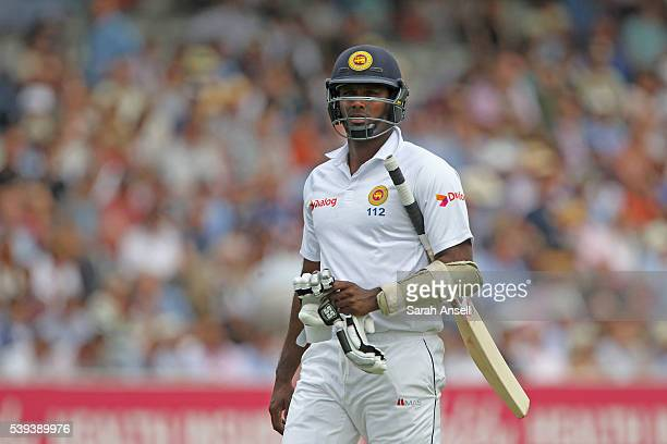Sri Lanka captain Angelo Mathews walks from the pitch after being dismissed during day three of the 3rd Investec Test match between England and Sri...