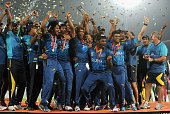 Sri Lanka captain Lasith Malinga lifts the trophy after winning the ICC World Twenty20 Bangladesh 2014 Final between India and Sri Lanka at...
