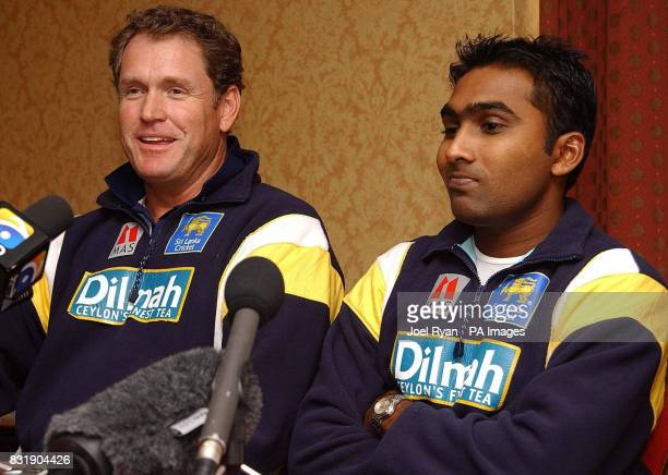 Sri Lanka captain Mahela Jayawardene and coach Tom Moody during a press conference at The Regent's Park Marriot Hotel London