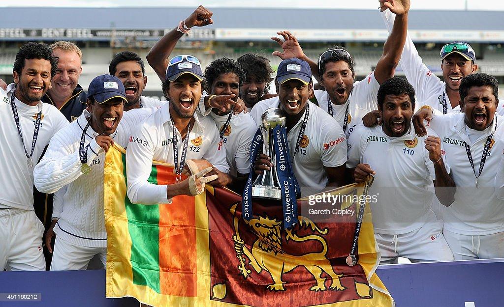 Sri Lanka celebrate winning the 2nd Investec Test match between England and Sri Lanka at Headingley Cricket Ground on June 24, 2014 in Leeds, England.