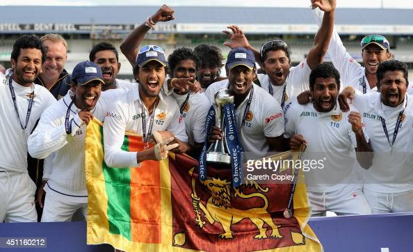 Sri Lanka celebrate winning the 2nd Investec Test match between England and Sri Lanka at Headingley Cricket Ground on June 24 2014 in Leeds England