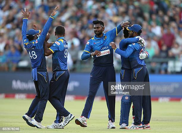 Sri Lanka celebrates during the 3rd KFC T20 International between South Africa and Sri Lanka at PPC Newlands on January 25 2017 in Cape Town South...