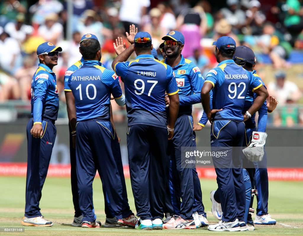 Sri Lanka celebrates during the 4th ODI between South Africa and Sri Lanka at PPC Newlands on February 07, 2017 in Cape Town, South Africa.