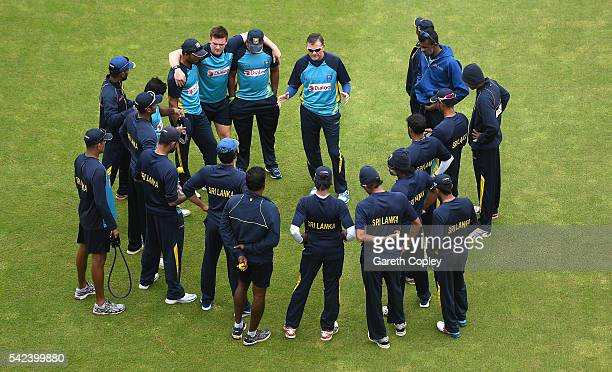 Sri Lanka coach Graham Ford speaks to his players ahead of a nets session at Edgbaston on June 23 2016 in Birmingham England