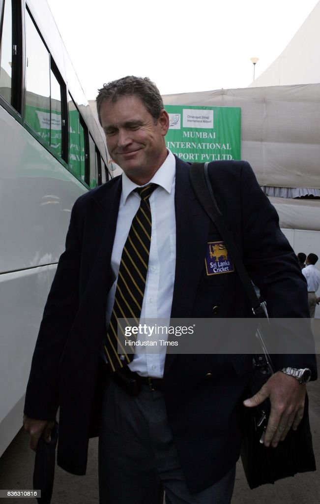 Sri Lanka coach Tom Moody arrives with his team at the International Airport in Mumbai on Friday afternoon.