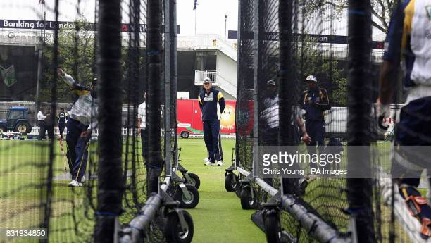 Sri Lanka coach Tom Moody directs a nets session at Lord's London