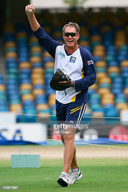 Sri Lanka coach Tom Moody laughs during a Sri Lanka team training session at the Kensington Oval on April 27 2007 in Bridgetown Barbados