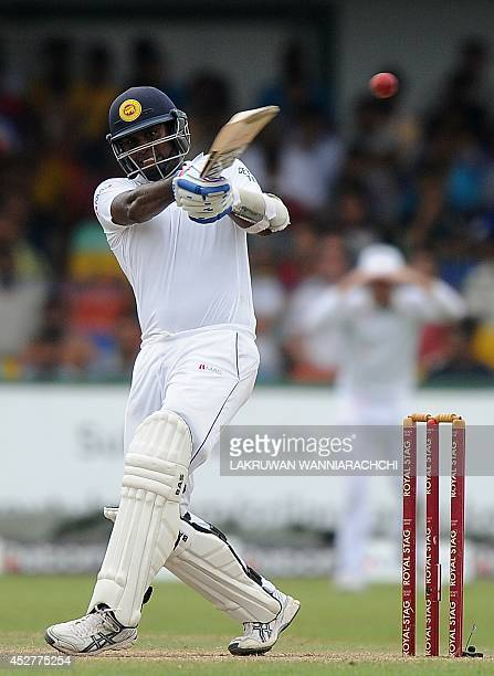 Sri Lanka cricket captain Angelo Mathews plays a shot during the fourth day of the second cricket Test match between Sri Lanka and South Africa at...
