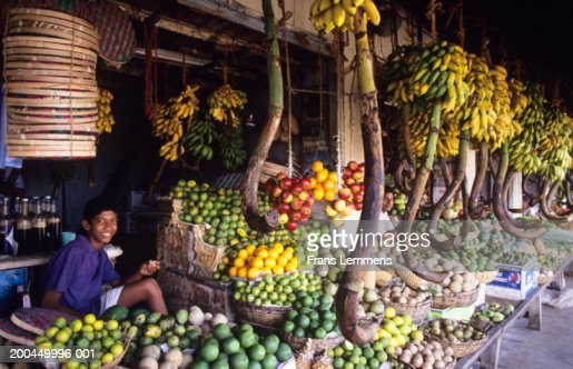 Sri Lanka Galle Teenage Boy Selling Fruit At Market Stock ...