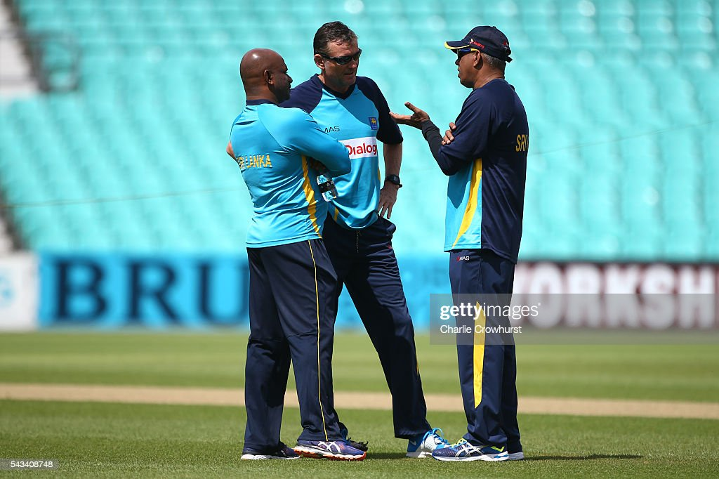 Sri Lanka head coach Graham Ford chats with staff during an England & Sri Lanka Nets Session at The Kia Oval on June 28, 2016 in London, England.