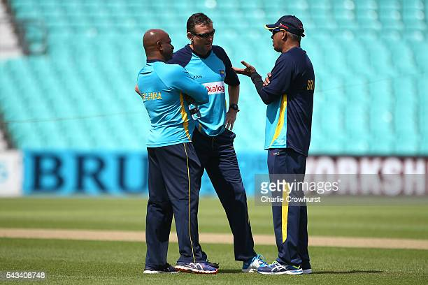 Sri Lanka head coach Graham Ford chats with staff during an England Sri Lanka Nets Session at The Kia Oval on June 28 2016 in London England